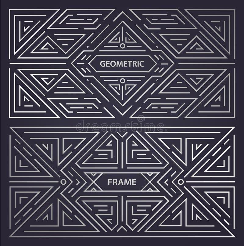 Διανυσματικό σύνολο αφηρημένων πλαισίων deco τέχνης Γραμμικό σύγχρονο ύφος, γεωμετρικά εμβλήματα μονογραμμάτων, σχέδιο συσκευασία διανυσματική απεικόνιση