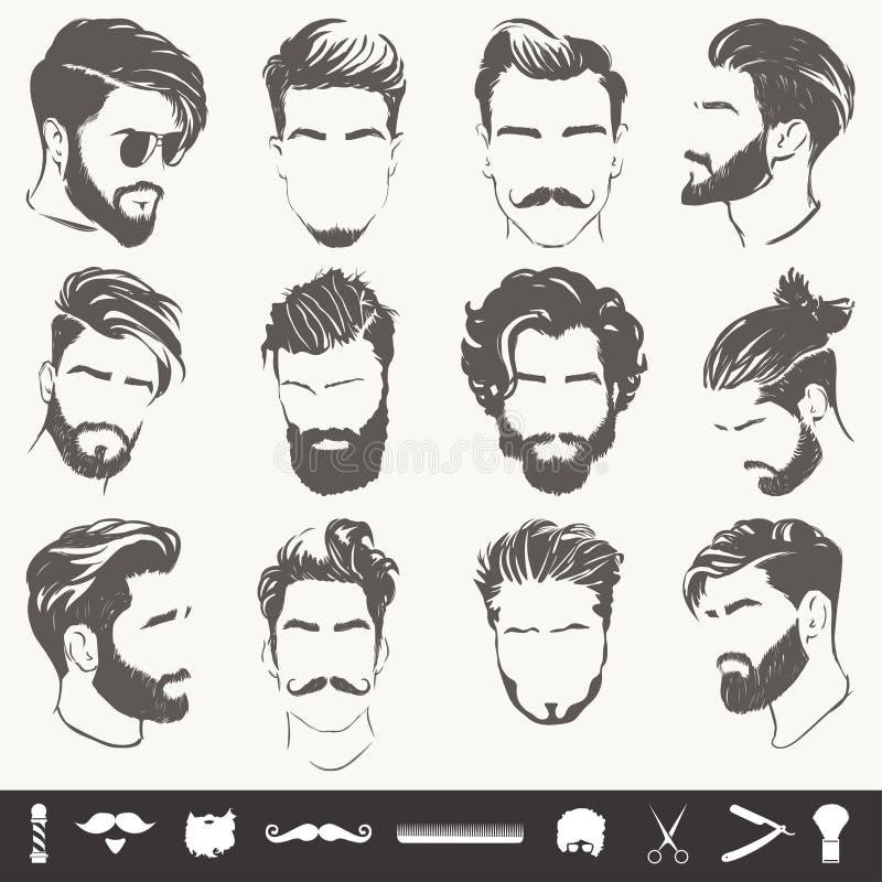 Διανυσματικό σύνολο αφηρημένων σκιαγραφιών ατόμων hairstyle ελεύθερη απεικόνιση δικαιώματος