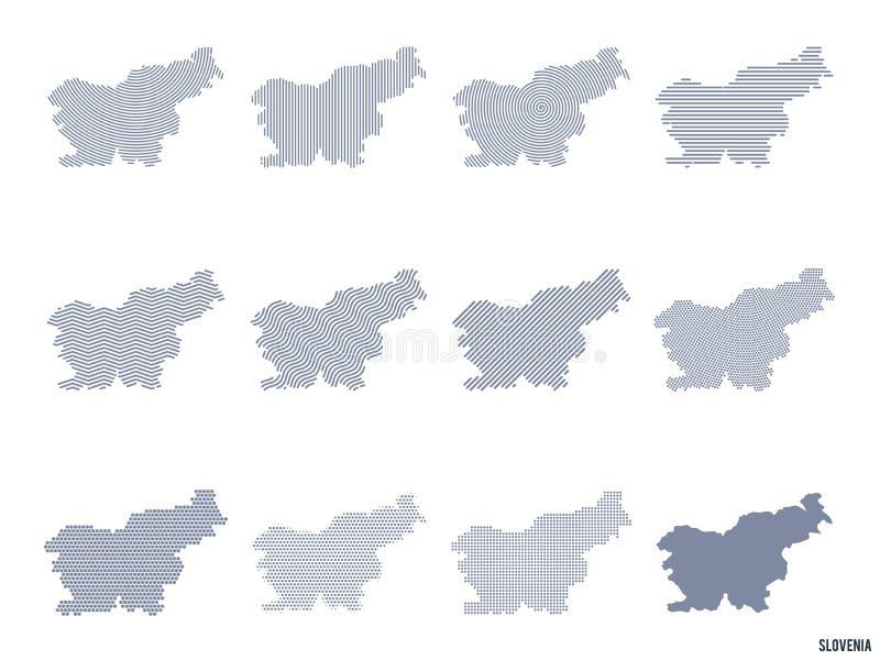 Διανυσματικό σύνολο αφηρημένων χαρτών της Σλοβενίας στις διαφορετικές μορφές διανυσματική απεικόνιση