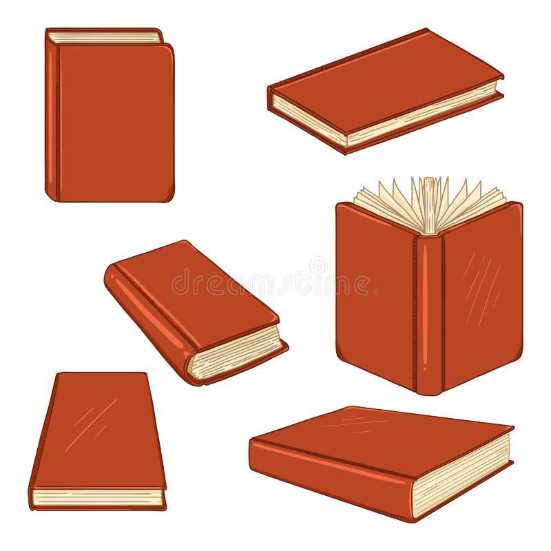 Διανυσματικό σύνολο βιβλίων κινούμενων σχεδίων σε κόκκινο Hardcover ελεύθερη απεικόνιση δικαιώματος