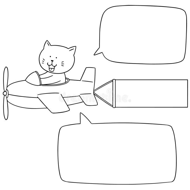 Διανυσματικό σύνολο γάτας στο αεροπλάνο ελεύθερη απεικόνιση δικαιώματος