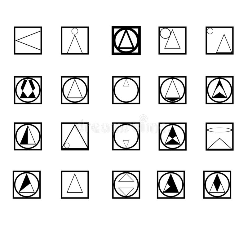 διανυσματικό σύνολο γεωμετρικών μορφών λογότυπων που γίνονται από τον κύκλο, τετράγωνο, τρίγωνο διανυσματική απεικόνιση