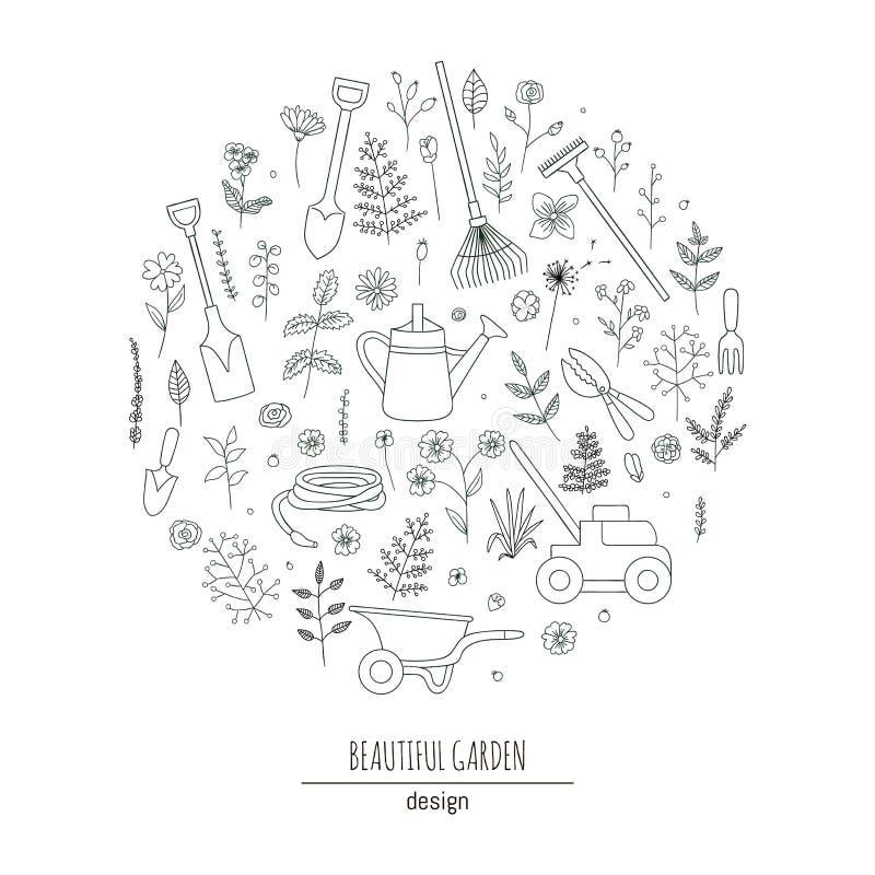 Διανυσματικό σύνολο γραπτών εργαλείων κήπων διανυσματική απεικόνιση