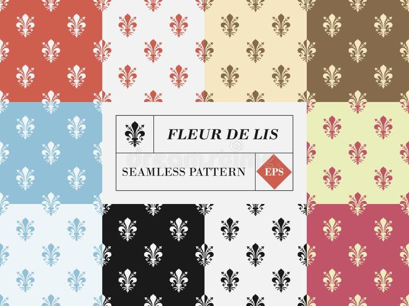 Διανυσματικό σύνολο δέκα fleur de lis άνευ ραφής σχεδίων διανυσματική απεικόνιση