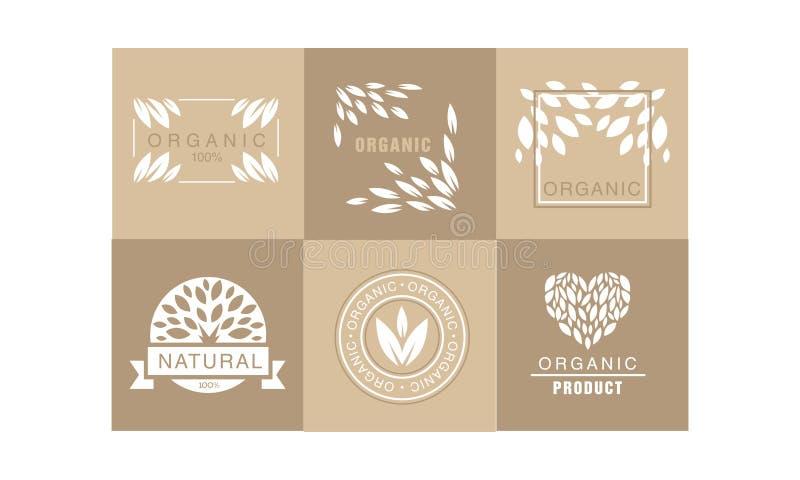 Διανυσματικό σύνολο δημιουργικών λογότυπων με τα αφηρημένα φύλλα Φυσικό προϊόν 100 οργανικά Υγιής τρόπος ζωής Μονοχρωματικά διακρ ελεύθερη απεικόνιση δικαιώματος