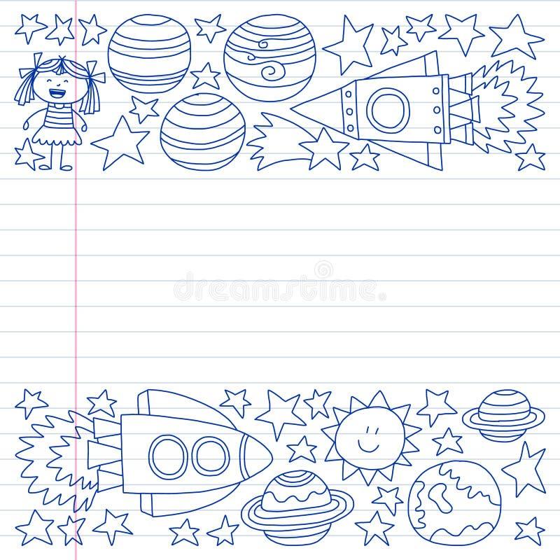 Διανυσματικό σύνολο διαστημικών εικονιδίων στοιχείων στο ύφος doodle Χρωματισμένος, επισυμένος την προσοχή με μια μάνδρα, σε ένα  ελεύθερη απεικόνιση δικαιώματος