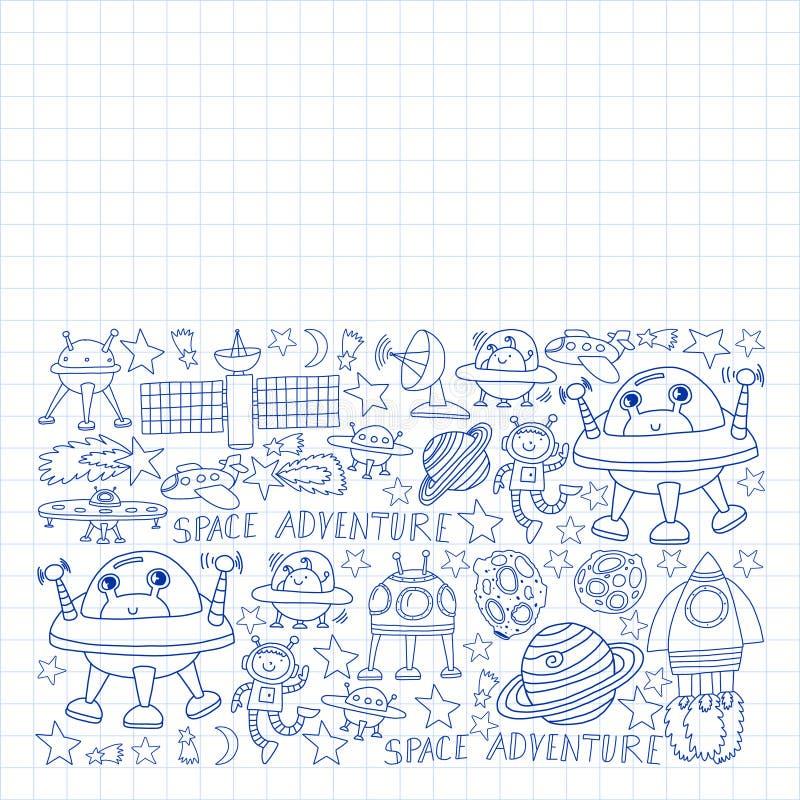 Διανυσματικό σύνολο διαστημικών εικονιδίων στοιχείων στο ύφος doodle Χρωματισμένος, επισυμένος την προσοχή με μια μάνδρα, σε ένα  διανυσματική απεικόνιση