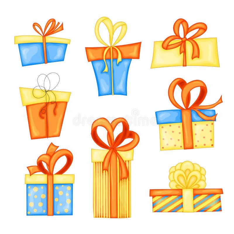 Διανυσματικό σύνολο διαφορετικών κιβωτίων δώρων Όμορφο παρόν κιβώτιο με το συντριπτικό τόξο απεικόνιση αποθεμάτων
