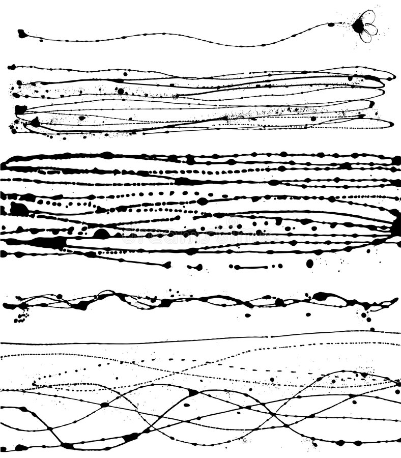 Διανυσματικό σύνολο διαφορετικών κτυπημάτων μελανιού διανυσματική απεικόνιση