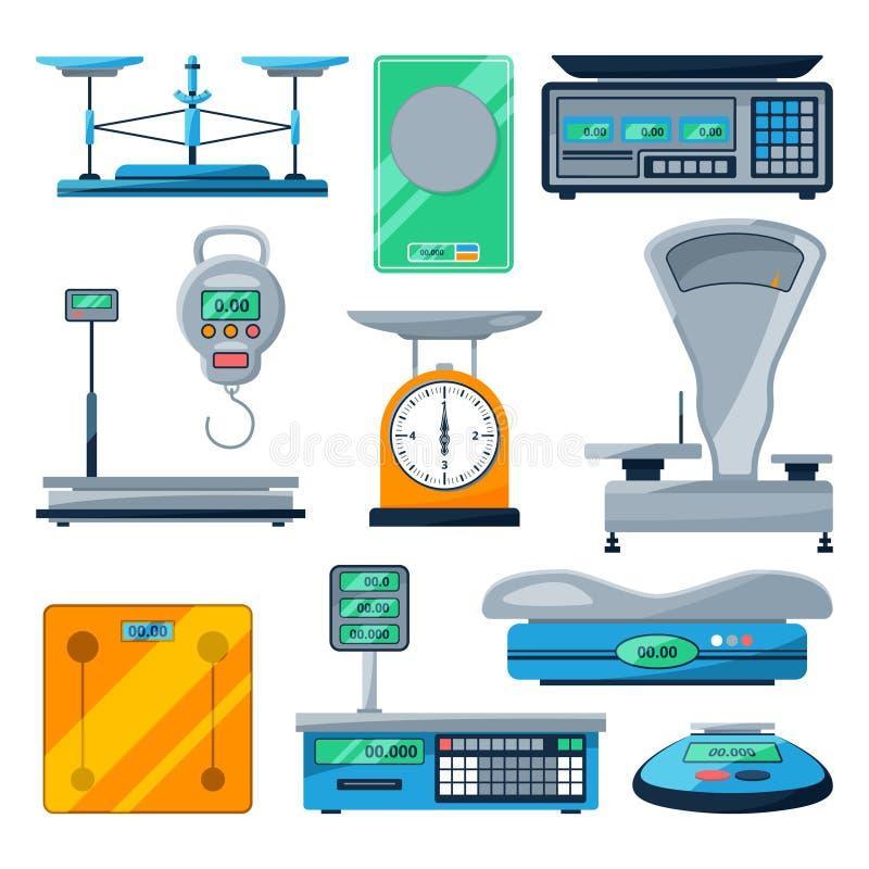 Διανυσματικό σύνολο διαφορετικών τύπων κλιμάκων απεικόνιση αποθεμάτων