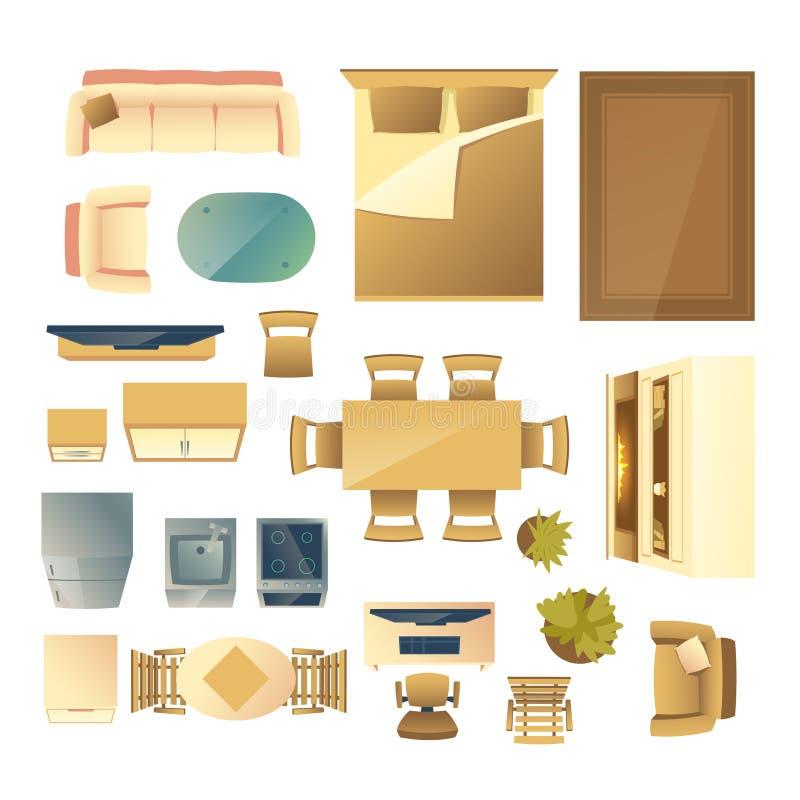 Διανυσματικό σύνολο εγχώριων επίπλων και κινούμενων σχεδίων συσκευών απεικόνιση αποθεμάτων