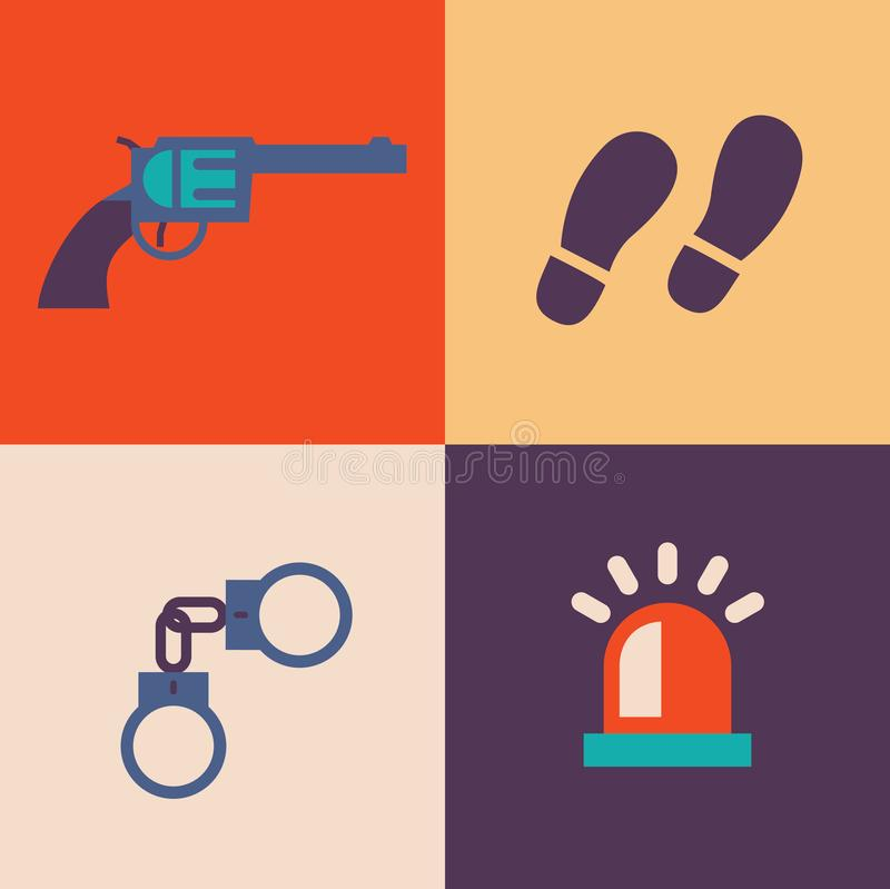 Διανυσματικό σύνολο εικονιδίων απεικόνισης εγκλήματος: πυροβόλο όπλο, διαδρομές, χειροπέδες, σήμα απεικόνιση αποθεμάτων