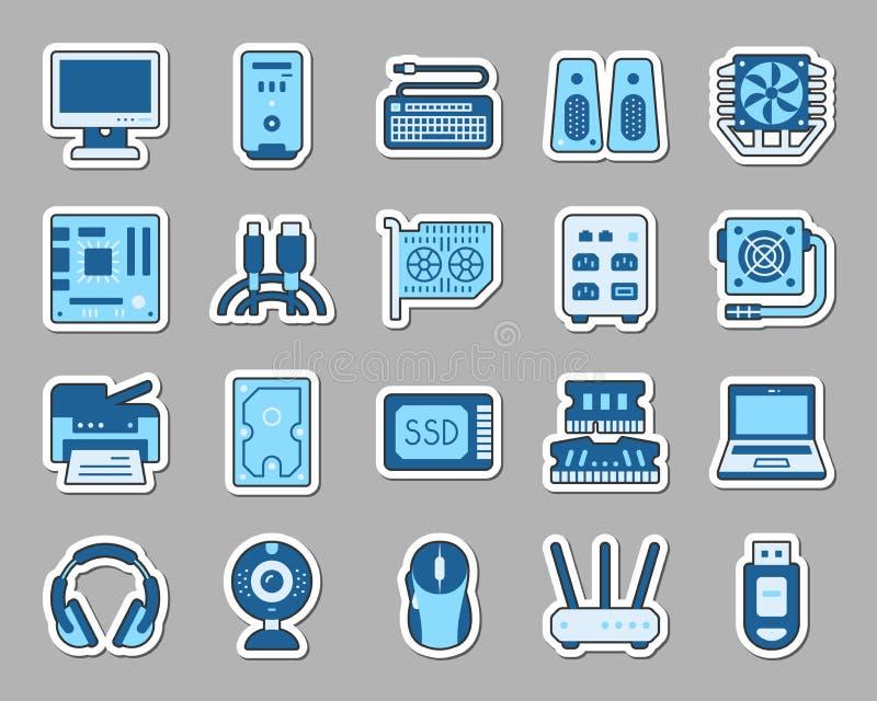 Διανυσματικό σύνολο εικονιδίων αυτοκόλλητων ετικεττών μπαλωμάτων υπολογιστών απεικόνιση αποθεμάτων