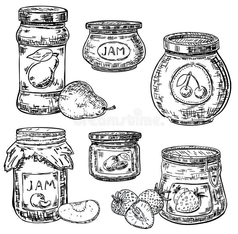 Διανυσματικό σύνολο εικονιδίων βάζων μαρμελάδας φρούτων ύφους μελανιού συρμένο χέρι διανυσματική απεικόνιση