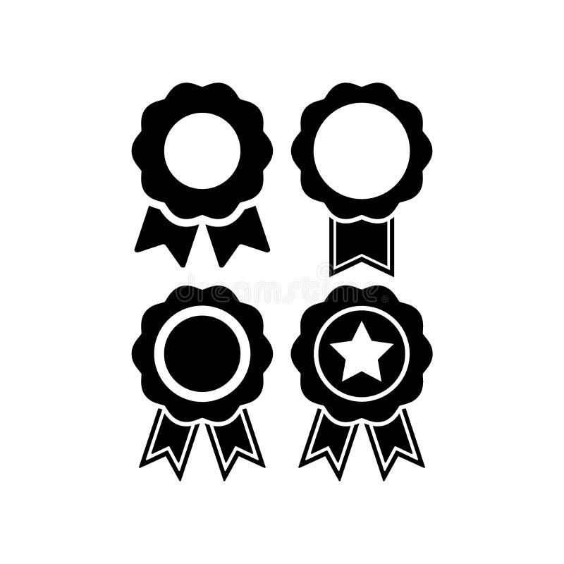 Διανυσματικό σύνολο εικονιδίων βραβείων διακριτικών Διακριτικό μεταλλίων πιστοποιητικών με την κορδέλλα διανυσματική απεικόνιση