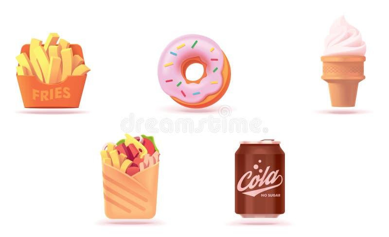 Διανυσματικό σύνολο εικονιδίων γρήγορου φαγητού ελεύθερη απεικόνιση δικαιώματος