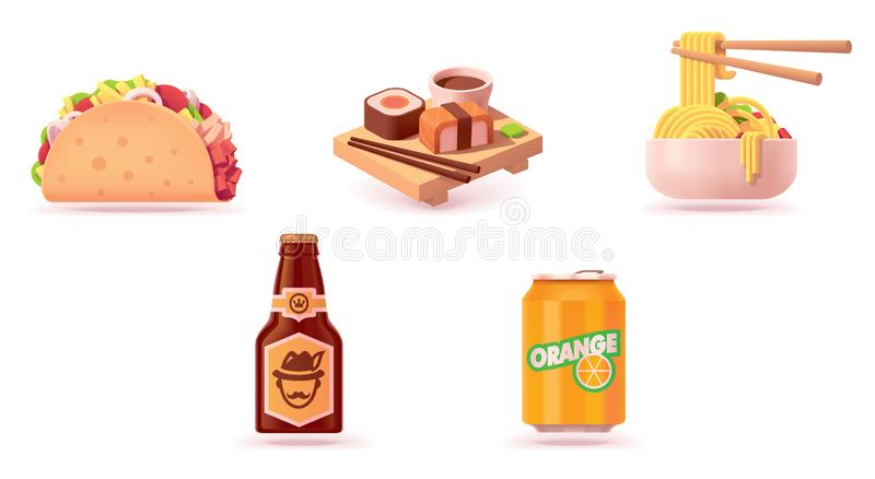 Διανυσματικό σύνολο εικονιδίων γρήγορου φαγητού απεικόνιση αποθεμάτων