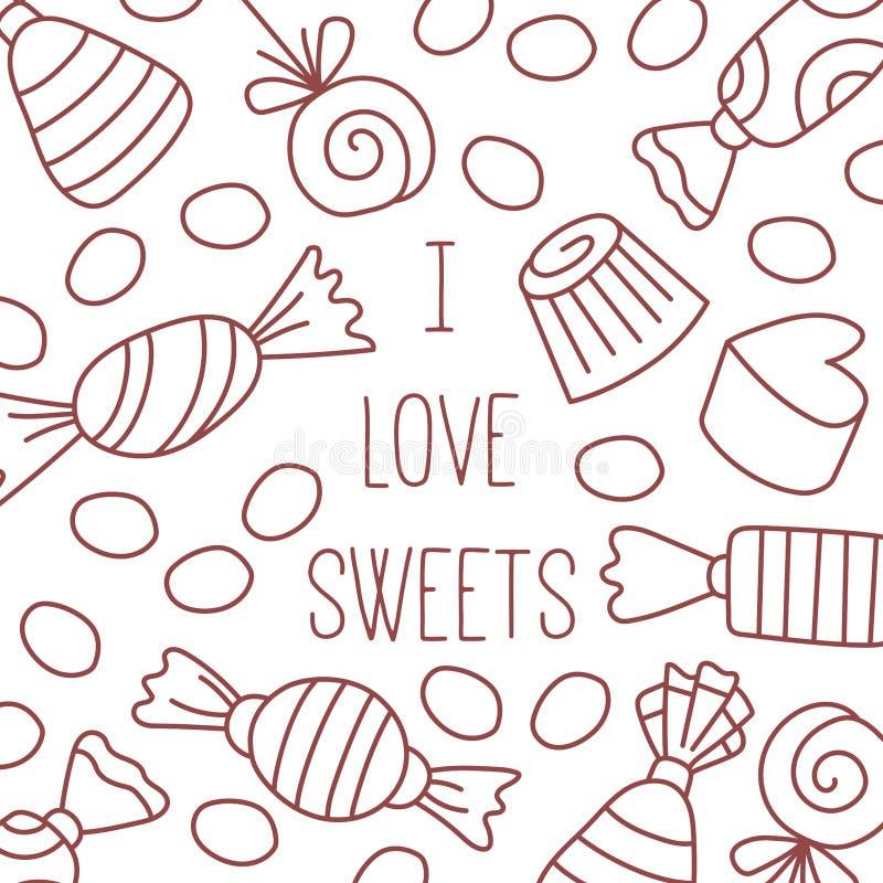 Διανυσματικό σύνολο εικονιδίων γραμμών γλυκών καραμελών doodle διανυσματική απεικόνιση
