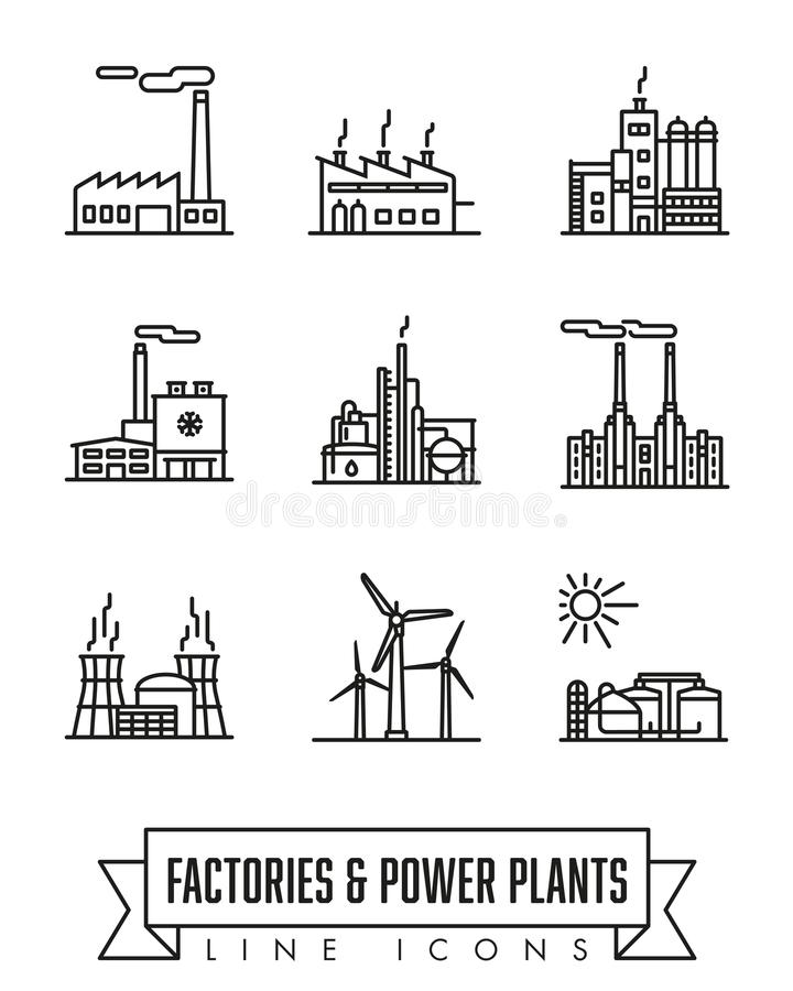 Διανυσματικό σύνολο εικονιδίων γραμμών εργοστασίων και εγκαταστάσεων παραγωγής ενέργειας διανυσματική απεικόνιση