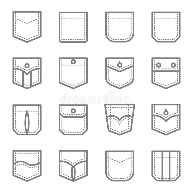 Διανυσματικό σύνολο εικονιδίων γραμμών ύφους τσεπών μπαλωμάτων Περιέχει τέτοια εικονίδια όπως την αρχικοί τσέπη, το τζιν, παραδοσ διανυσματική απεικόνιση
