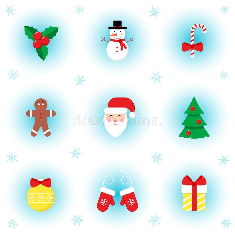 Διανυσματικό σύνολο εικονιδίων επίπεδων συμβόλων Χριστουγέννων στο χειμερινό υπόβαθρο διανυσματική απεικόνιση