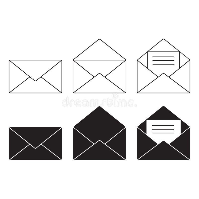 Διανυσματικό σύνολο εικονιδίων ηλεκτρονικού ταχυδρομείου, σημάδι φακέλων, σύμβολο ταχυδρομείου επίσης corel σύρετε το διάνυσμα απ απεικόνιση αποθεμάτων