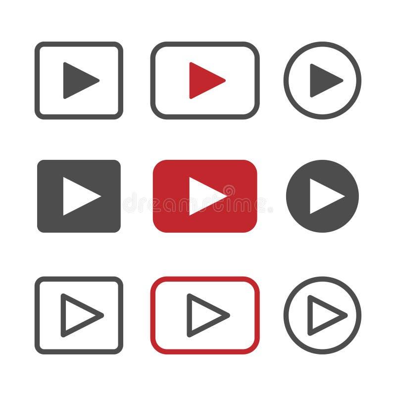 Διανυσματικό σύνολο εικονιδίων κουμπιών παιχνιδιού απεικόνιση αποθεμάτων