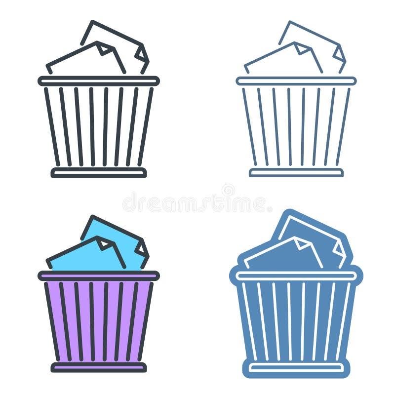Διανυσματικό σύνολο εικονιδίων περιλήψεων καλαθιών αποβλήτων Σύμβολα γραμμών δοχείων απορριμμάτων ελεύθερη απεικόνιση δικαιώματος