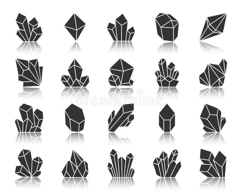 Διανυσματικό σύνολο εικονιδίων σκιαγραφιών κρυστάλλου μαύρο διανυσματική απεικόνιση