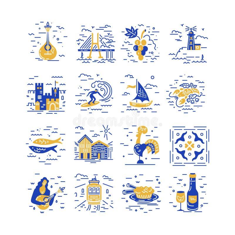 Διανυσματικό σύνολο εικονιδίων συμβόλων της Πορτογαλίας διανυσματική απεικόνιση