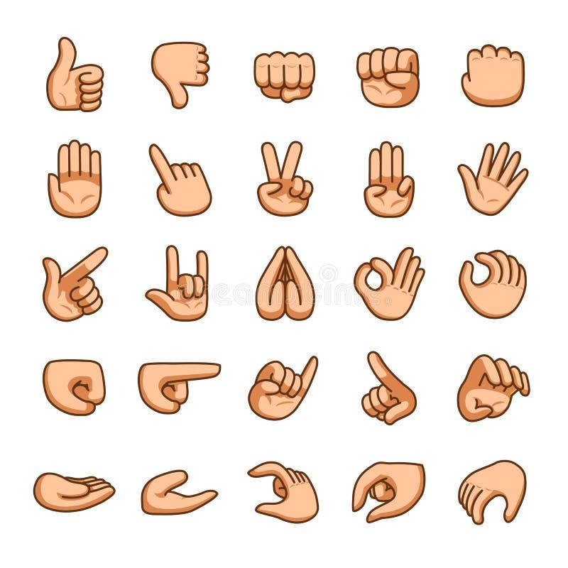 Διανυσματικό σύνολο εικονιδίων χειρονομιών χεριών κινούμενων σχεδίων διανυσματική απεικόνιση