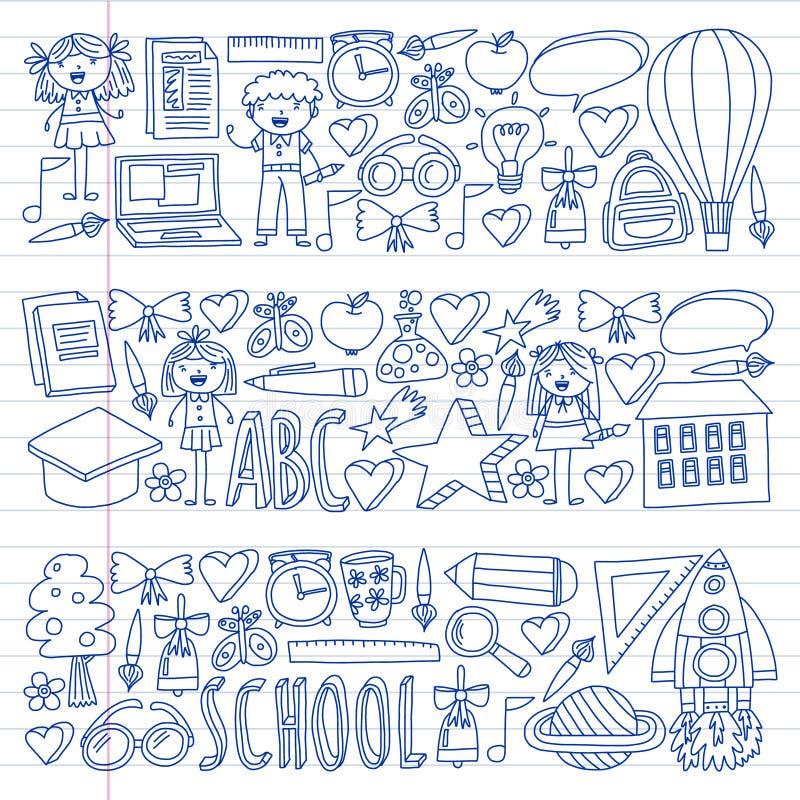 Διανυσματικό σύνολο εικονιδίων Back to School σε στυλ σκίτσου. Ζωγραφισμένες ελεύθερη απεικόνιση δικαιώματος