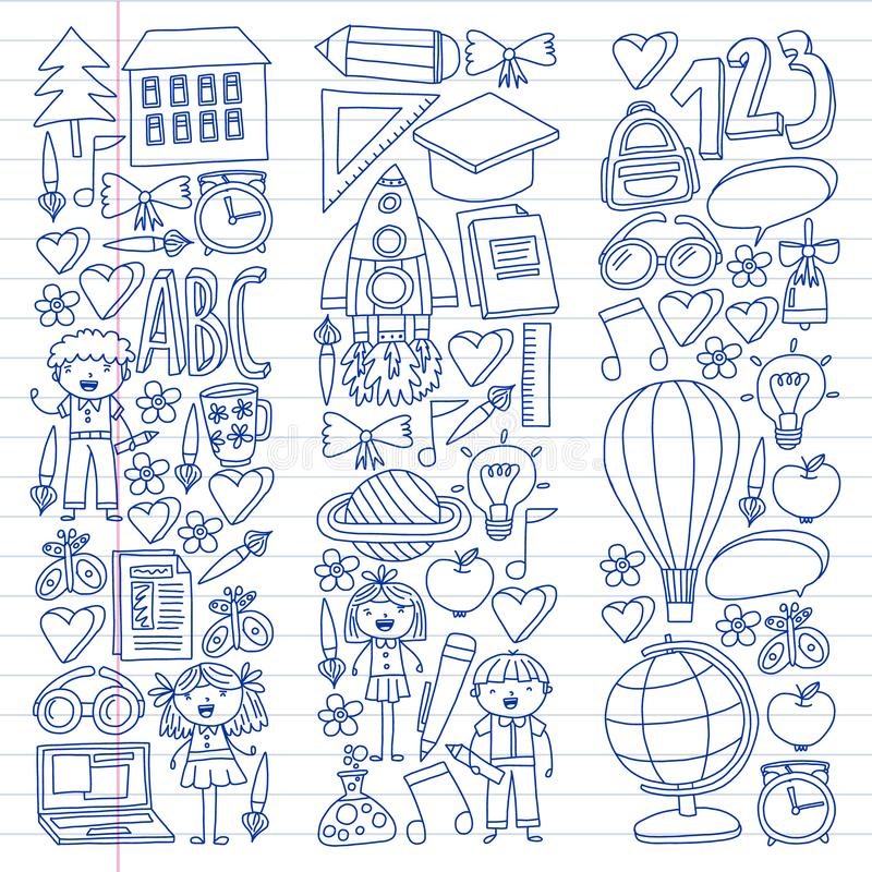 Διανυσματικό σύνολο εικονιδίων Back to School σε στυλ σκίτσου. Ζωγραφισμένες απεικόνιση αποθεμάτων