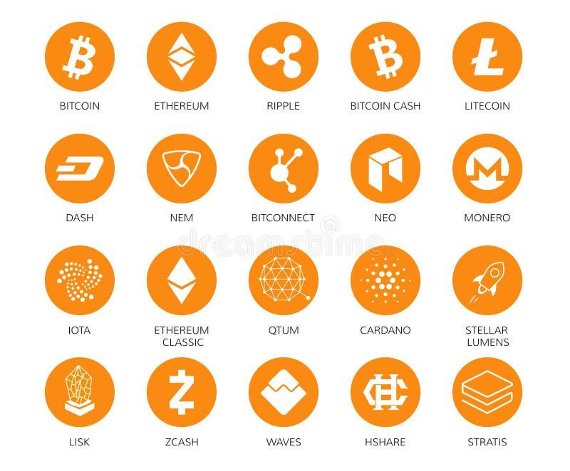 Διανυσματικό σύνολο εικονιδίων Cryptocurrency Top 20 σημάδια σχετικά με το bitcoin και βασισμένα crypto blockchain technologie διανυσματική απεικόνιση
