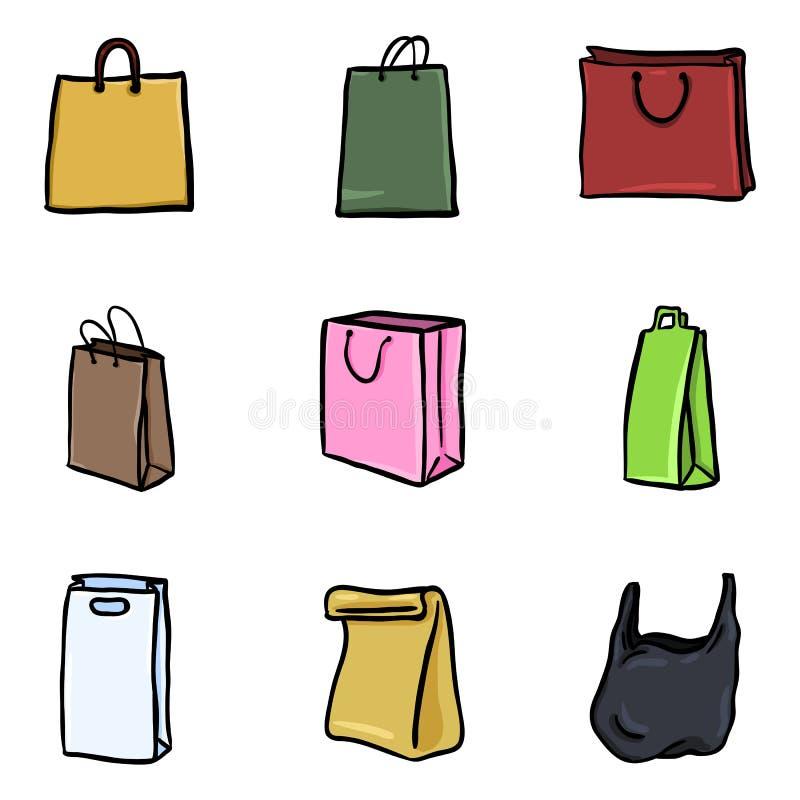 Διανυσματικό σύνολο εικονιδίων Doodle χρώματος - τσάντες αγορών απεικόνιση αποθεμάτων