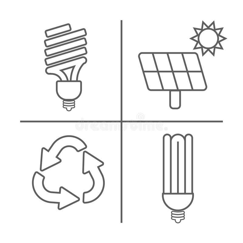 Διανυσματικό σύνολο εικονιδίων Eco Λεπτά οικολογικά σημάδια γραμμών για infographic, τον ιστοχώρο ή app Λαμπτήρας Powersave, ηλια απεικόνιση αποθεμάτων