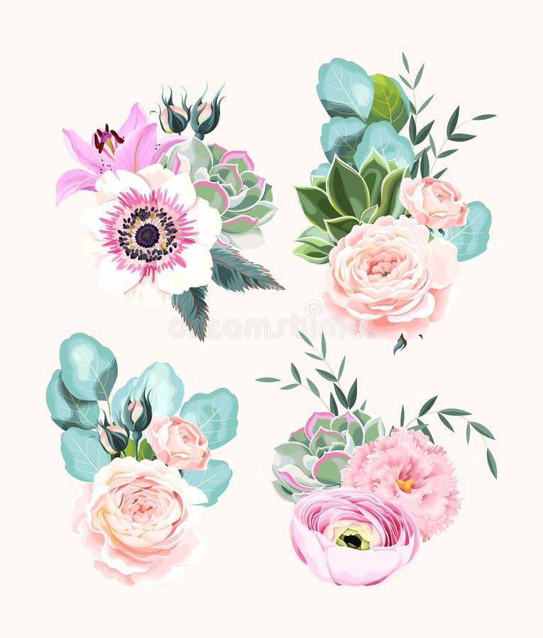 Διανυσματικό σύνολο εκλεκτής ποιότητας λουλουδιών και φύλλων κρητιδογραφιών απεικόνιση αποθεμάτων