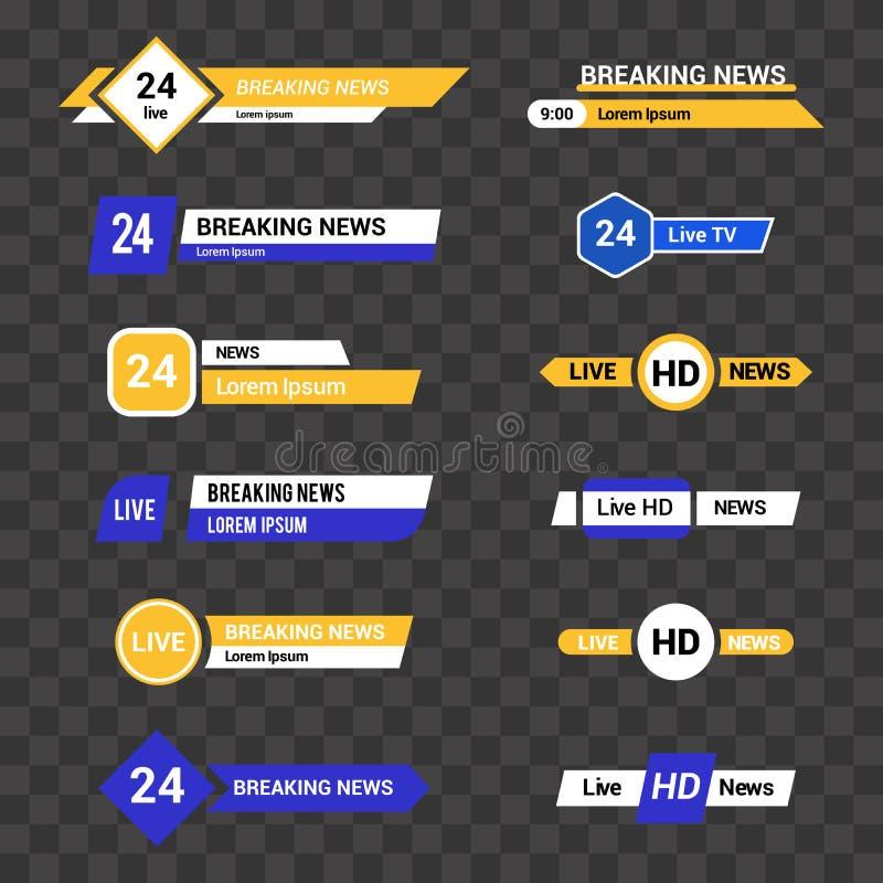 Διανυσματικό σύνολο εμβλημάτων και φραγμών TV για τις ειδήσεις και τα αθλητικά κανάλια απεικόνιση αποθεμάτων