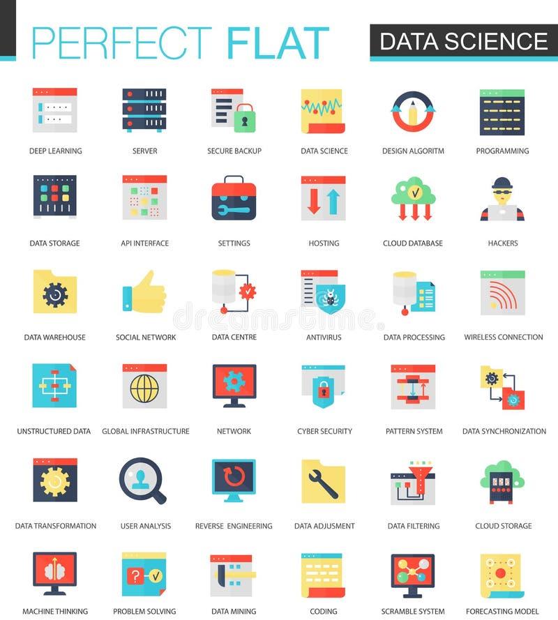 Διανυσματικό σύνολο επίπεδης επιστήμης στοιχείων, μεγάλο analytics στοιχείων, clous εικονίδια υπολογισμού απεικόνιση αποθεμάτων