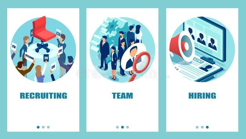 Διανυσματικό σύνολο επιχειρηματιών που εφαρμόζουν τη στρατολόγηση για μια κενή θέση εργασίας που χρησιμοποιεί τις σύγχρονες τεχνο απεικόνιση αποθεμάτων