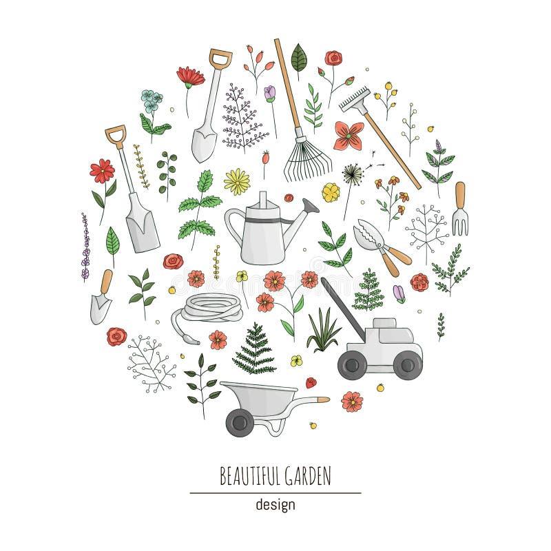 Διανυσματικό σύνολο ζωηρόχρωμων εργαλείων κήπων, λουλούδια, χορτάρια, εγκαταστάσεις Συλλογή του φτυαριού, φτυάρι, τσουγκράνες, απεικόνιση αποθεμάτων