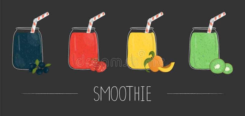 Διανυσματικό σύνολο ζωηρόχρωμων καταφερτζήδων φρούτων και μούρων στο βάζο γυαλιού ελεύθερη απεικόνιση δικαιώματος