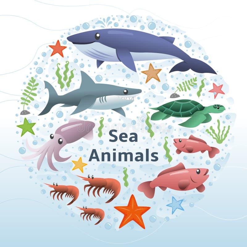 Διανυσματικό σύνολο ζώων θάλασσας διανυσματική απεικόνιση