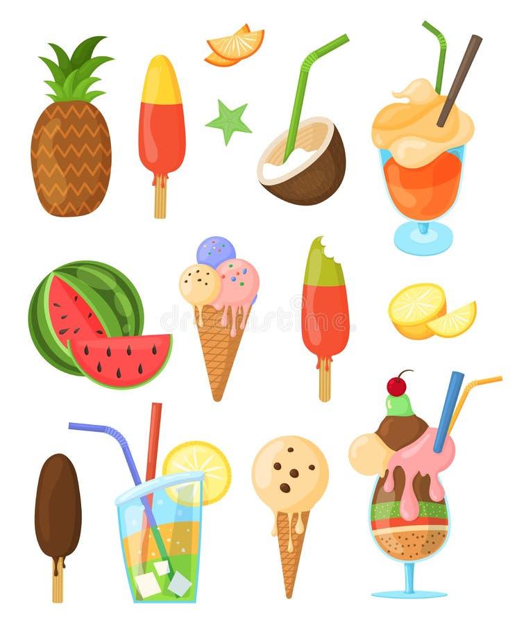 Διανυσματικό σύνολο θερινών απομονωμένων γλυκά στοιχείων διανυσματική απεικόνιση