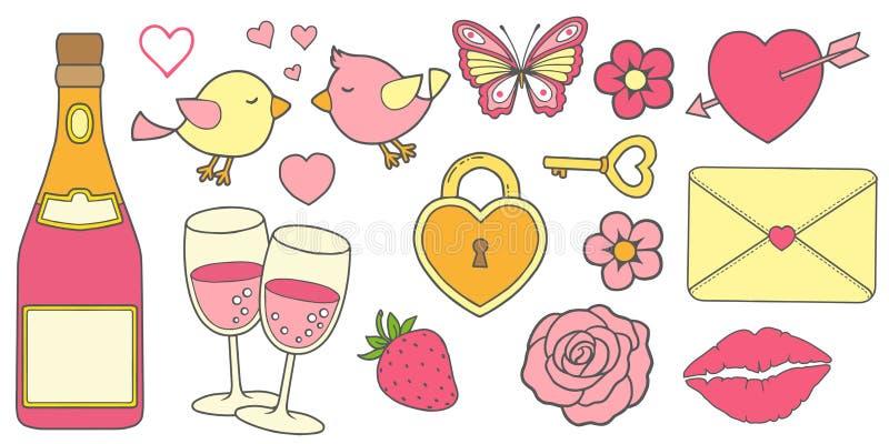 Διανυσματικό σύνολο ιστορίας αγάπης στα χρώματα του ροζ και κίτρινος Μια αυτοκόλλητη ετικέττα για το σχεδιασμό των προσκλήσεων γι απεικόνιση αποθεμάτων