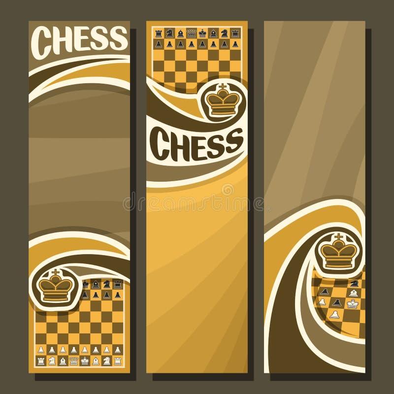 Διανυσματικό σύνολο κάθετων εμβλημάτων για το σκάκι διανυσματική απεικόνιση