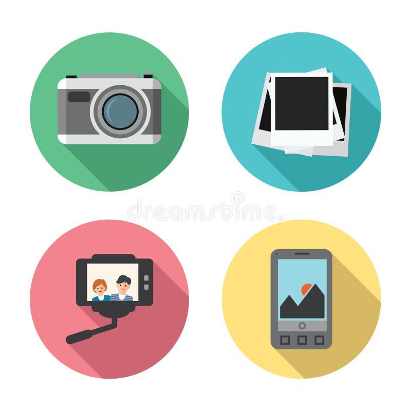 Διανυσματικό σύνολο κάμερας φωτογραφιών, στιγμιαία πλαίσια φωτογραφιών ελεύθερη απεικόνιση δικαιώματος