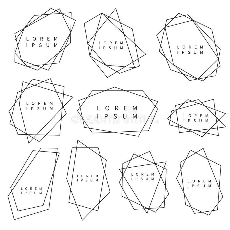 Διανυσματικό σύνολο καθιερωνόντων τη μόδα polygonal πλαισίων για το λογότυπο ελεύθερη απεικόνιση δικαιώματος
