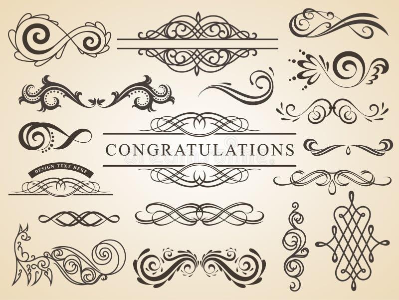 Διανυσματικό σύνολο καλλιγραφικής διακόσμησης σελίδων στοιχείων σχεδίου Στοιχεία γαμήλιου σχεδίου διανυσματική απεικόνιση