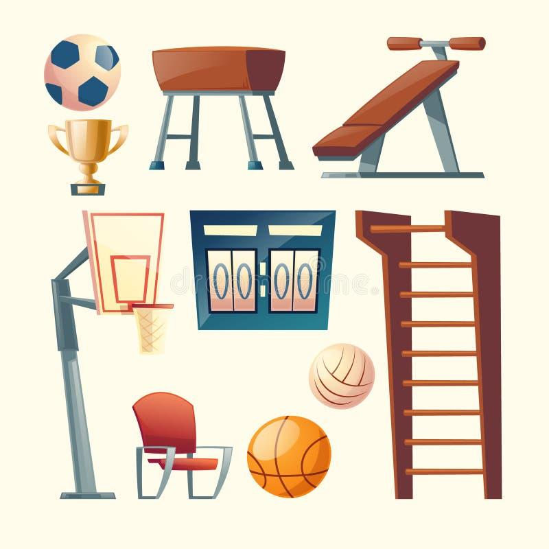 Διανυσματικό σύνολο κινούμενων σχεδίων εξοπλισμού γυμναστικής για το σχολείο ελεύθερη απεικόνιση δικαιώματος